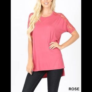 New Zenana Premium lace sleeve tunic in Rose